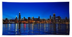 Chicago Skyline At Dusk Beach Towel