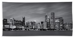 Chicago Skyline At Night Black And White Panoramic Beach Towel