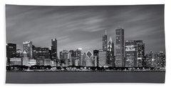 Chicago Skyline At Night Black And White Panoramic Beach Towel