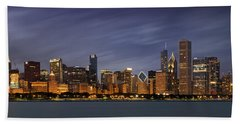 Beach Towel featuring the photograph Chicago Skyline At Night Color Panoramic by Adam Romanowicz