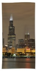 Chicago Skyline At Night Beach Towel by Sebastian Musial