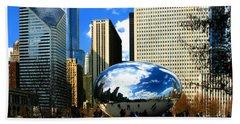 Chicago Skyline Bean Beach Towel