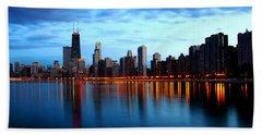 Chicago Skyline Dusk Beach Towel