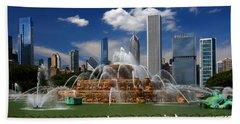 Chicago Skyline Grant Park Fountain Clouds Beach Towel
