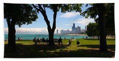 Chicago Skyline Lakefront Park Beach Towel
