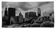 Chicago City Skyline Beach Towel by Miguel Winterpacht