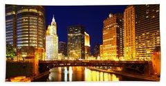 Chicago Skyline Night River Beach Towel