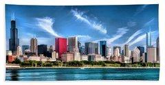 Chicago Skyline Panorama Beach Sheet