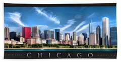 Chicago Skyline Panorama Poster Beach Towel