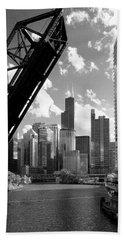 Chicago-skyline-raised Bridge Black White Beach Towel
