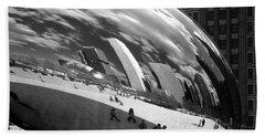 Chicago Skyline Reflected Bean Beach Towel