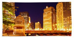 Chicago Skyline River Bridge Night Beach Towel