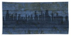 Chicago Skyline Silhouette Distressed On Worn Peeling Wood Beach Towel by Design Turnpike