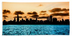 Chicago Skyline Silhouette Beach Towel by Semmick Photo