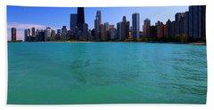 Chicago Skyline Teal Water Beach Towel