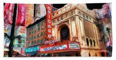Chicago Theater - 23 Beach Towel by Ely Arsha