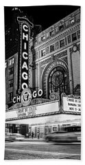 Chicago Theatre Marquee Sign At Night Black And White Beach Towel