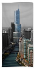 Chicago Trump Tower Blue Selective Coloring Beach Towel by Thomas Woolworth