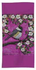 Chickadee In Apple Blossoms Beach Sheet