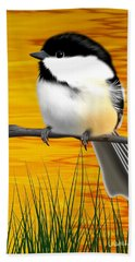 Chickadee On A Branch Beach Sheet