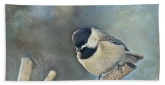 Chickadee With Texture Beach Sheet by Debbie Portwood