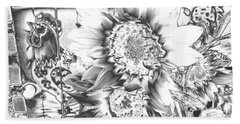 Beach Towel featuring the photograph Rooster And Chicken House Chromed by Belinda Lee