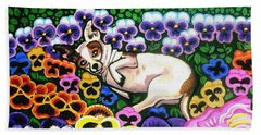 Chihuahua In Flowers Beach Towel by Genevieve Esson