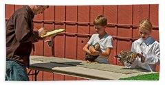 Children 4h Chicken Judging Art Prints Beach Towel by Valerie Garner