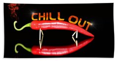 Chilli Pepper And Text Chill Out Beach Sheet