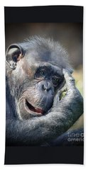 Beach Towel featuring the photograph Chimpanzee Thinking by Savannah Gibbs