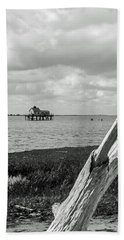 Chincoteague Oystershack Bw Vertical Beach Towel