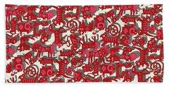 Chinese Animals Red Beach Towel