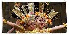 Chinese Dancers Perform Thousand Hands Guan Yin Beach Towel by Lingfai Leung