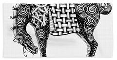 Chinese Horse - Zentangle Beach Towel