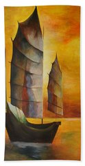 Beach Towel featuring the painting Chinese Junk In Ochre by Tracey Harrington-Simpson