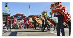 Chinese New Year Parade In Chinatown Of Los Angeles California. Beach Towel