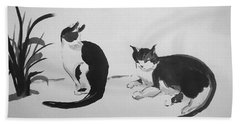 Chinese Painting Cats Beach Towel