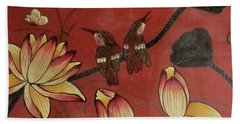 Chinese Red Lacquer Chest Detail Beach Towel