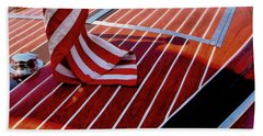 Beach Towel featuring the photograph Chris Craft With American Flag by Michelle Calkins
