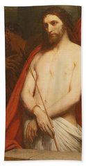 Christ With The Reed Oil On Canvas Beach Towel
