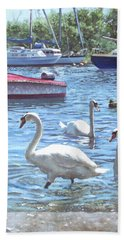 Beach Towel featuring the painting Christchurch Harbour Swans And Boats by Martin Davey