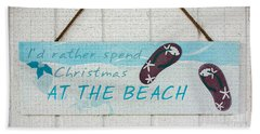 Christmas At The Beach Beach Towel by Betty LaRue