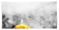 Christmas Ball Candle Lights On Winter Background Beach Towel
