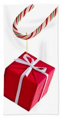 Christmas Candy Cane And Present Beach Towel