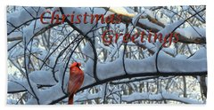 Christmas Card - Christmas Greeting Beach Towel by Larry Bishop
