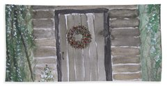 Christmas Card No.3 Rustic Cabin Beach Towel
