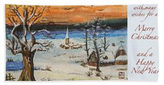 Beach Sheet featuring the painting Christmas Card Painting by Peter v Quenter