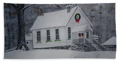 Beach Towel featuring the painting Christmas Card - Snow - Gates Chapel by Jan Dappen