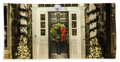 Beach Towel featuring the photograph Christmas Door 2 by Betty Denise