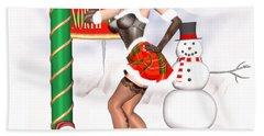 Christmas Elf Cleo Beach Towel by Renate Janssen